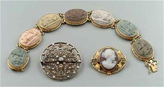 382 Three pieces gold jewelry