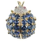 14kt, Sapphire, Diamond & Ruby Lady Bug Brooch