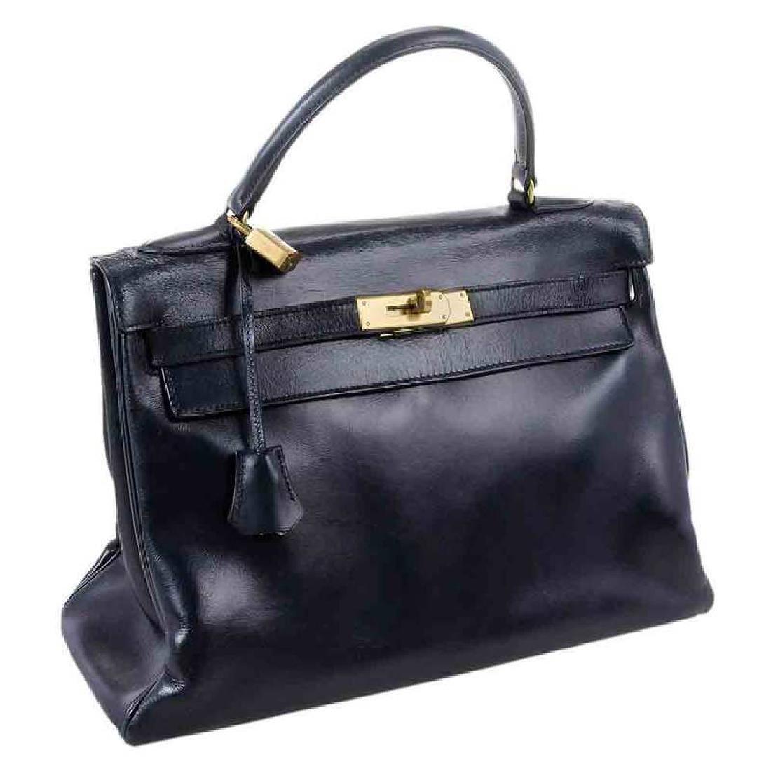 Hermes Blue Leather Kelly Handbag