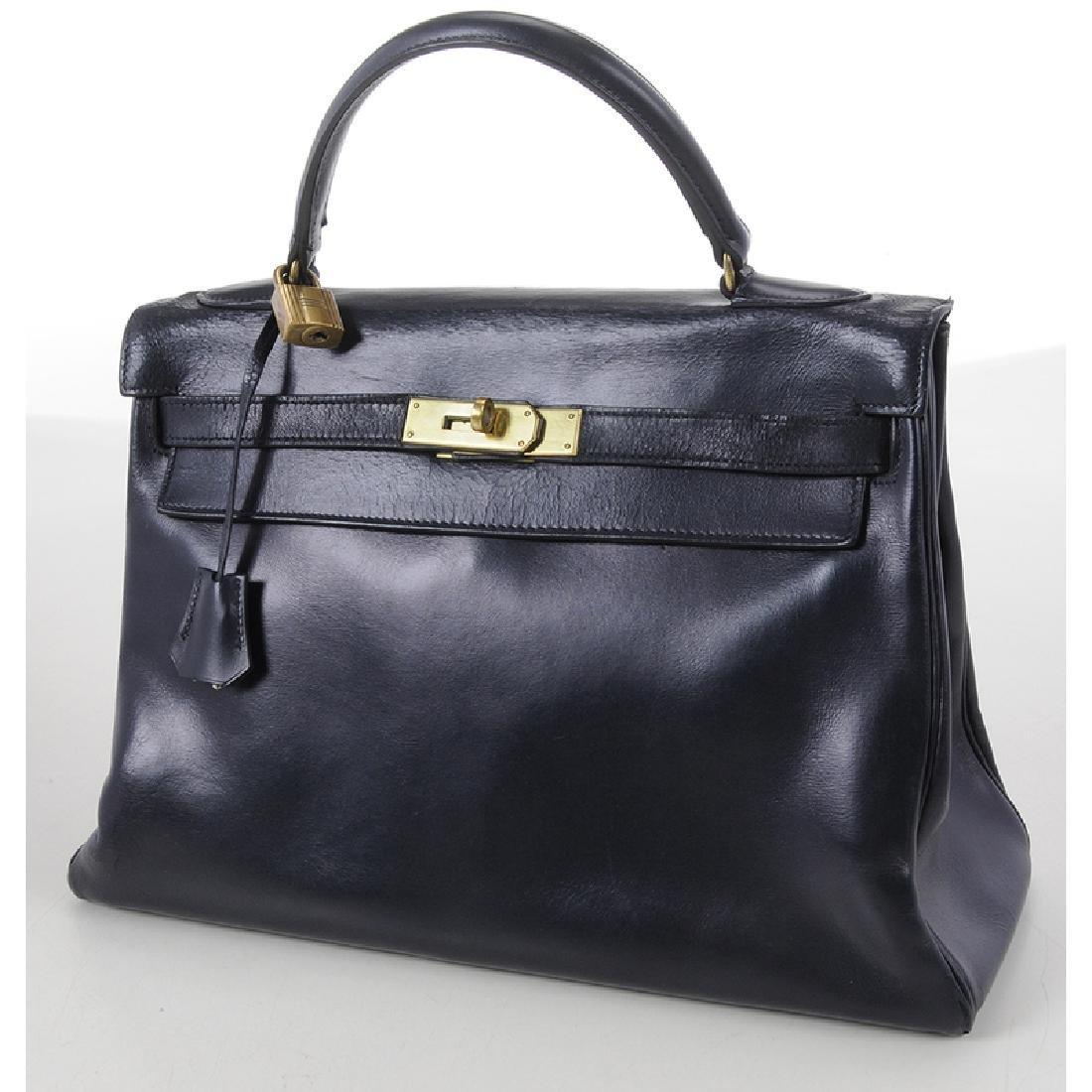Hermes Blue Leather Kelly Handbag - 2