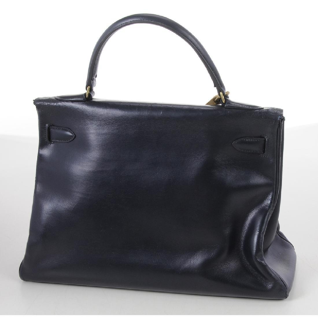 Hermes Blue Leather Kelly Handbag - 3