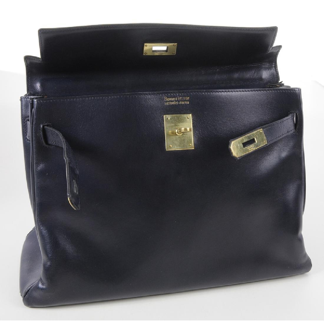 Hermes Blue Leather Kelly Handbag - 5