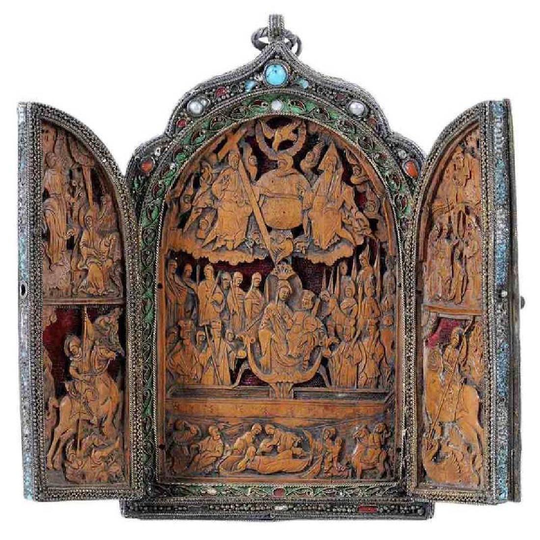 Traveling Triptych Silver Enamel Icon