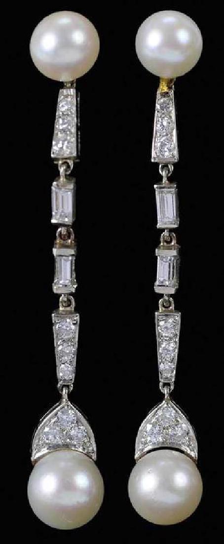 14kt. Diamond & Pearl Earrings