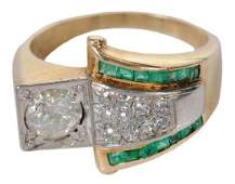14kt Diamond  Emerald Ring