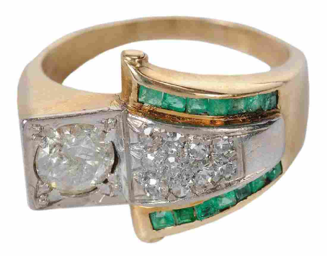 14kt. Diamond & Emerald Ring