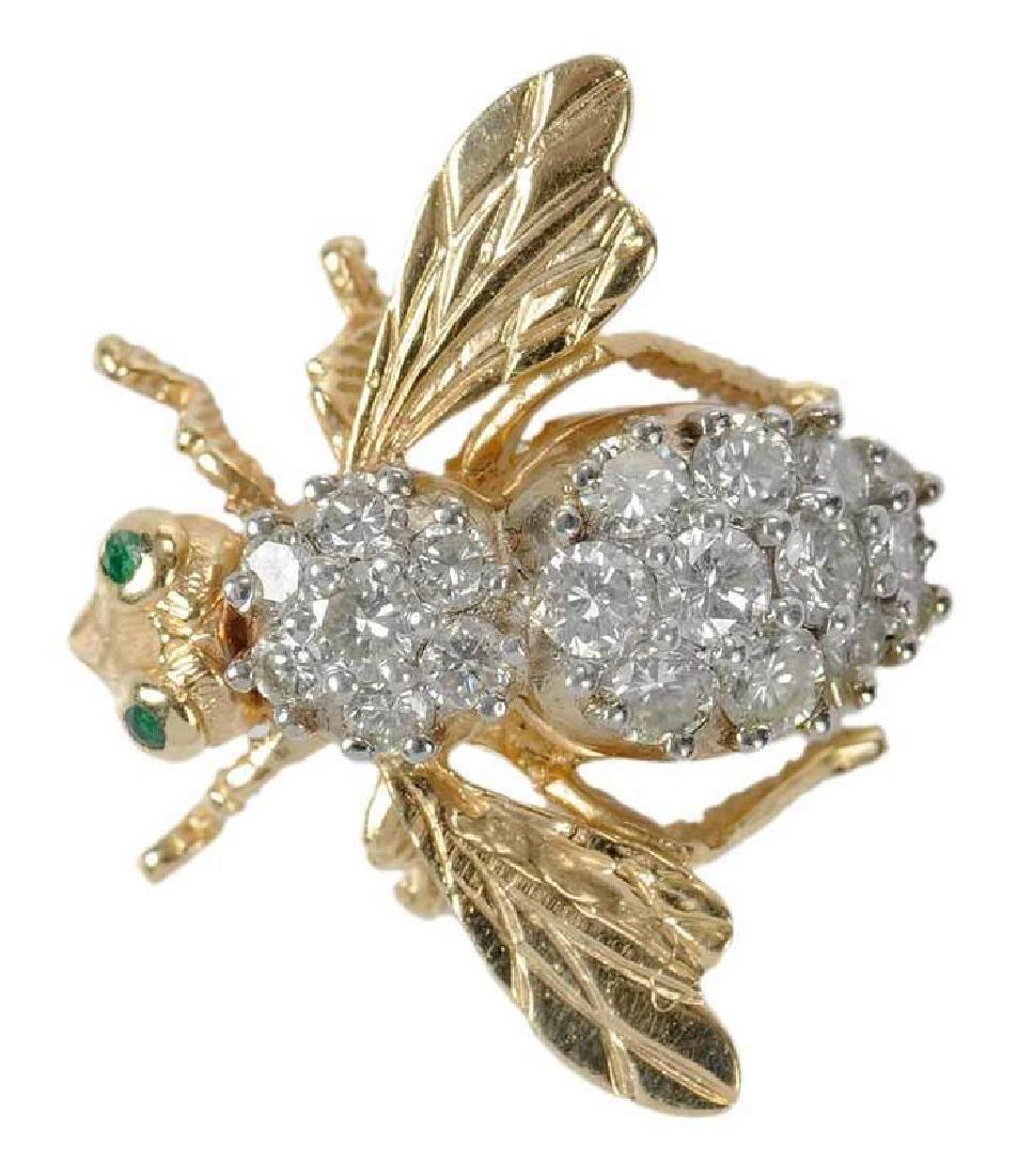 14kt. Diamond Bee Brooch