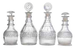 Two Pair Cut Crystal Decanters
