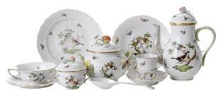 76 Pieces Herend Rothschild Bird Porcelain