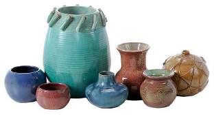 Four Pieces Pine Ridge Pottery, Three Studio