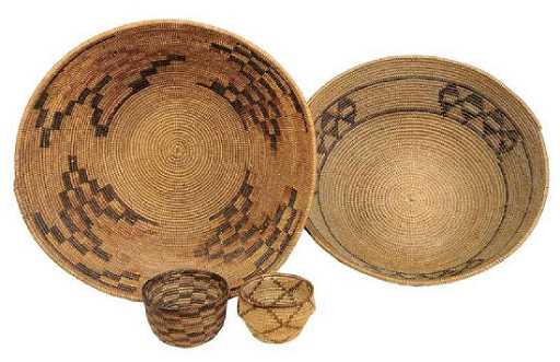 Four Northern California Native American Baskets