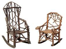Two Vintage Rustic Child Size Rocking Chairs