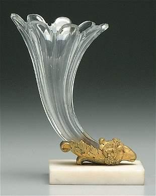 Paneled glass cornucopia vase,