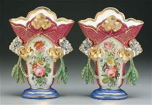 Pair Old Paris vases,