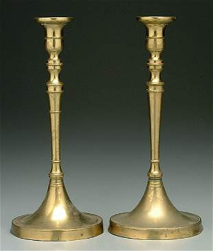 Pair 19th century brass candlesticks,