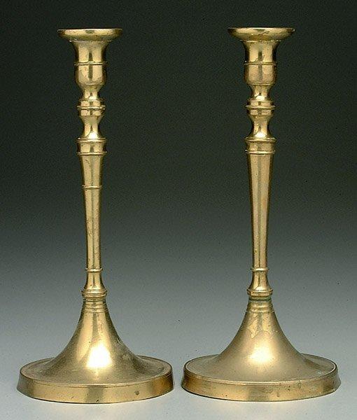 5: Pair 19th century brass candlesticks,