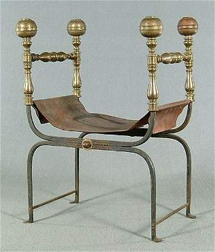 Brass and iron Roman-style chair,