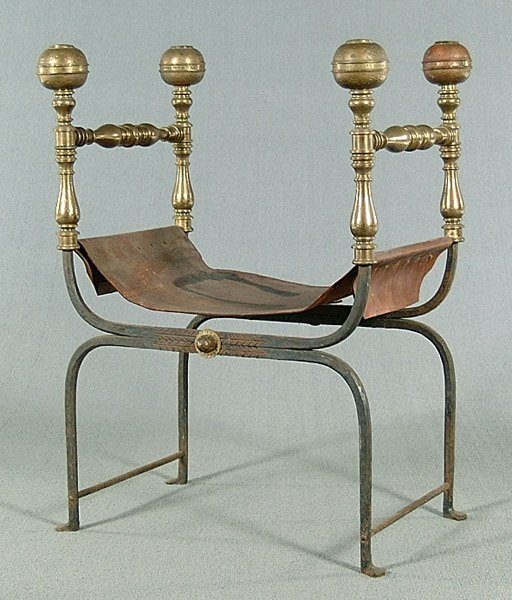 6: Brass and iron Roman-style chair,