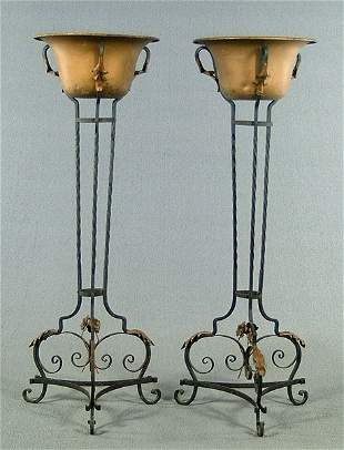 Pair iron and brass planters,