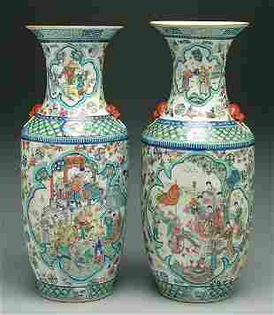 Pair Chinese porcelain urns,