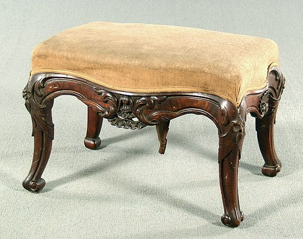 11: Carved rosewood stool,