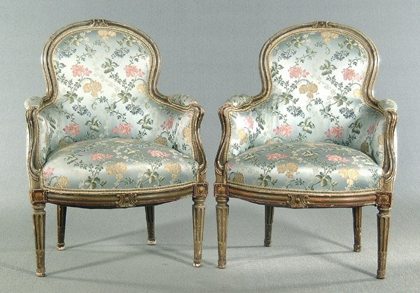 14: Pair upholstered bergere,