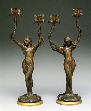 Pair art nouveau candelabra by Debut
