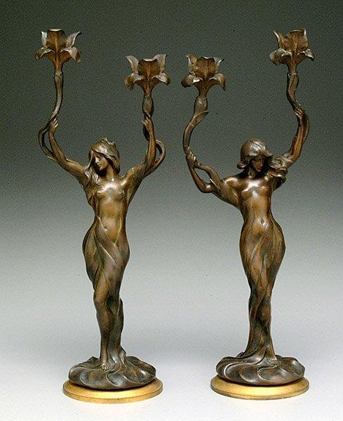 16: Pair art nouveau  candelabra by Debut