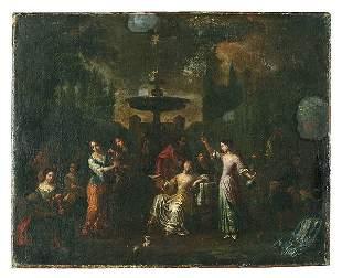 18th century garden scene,