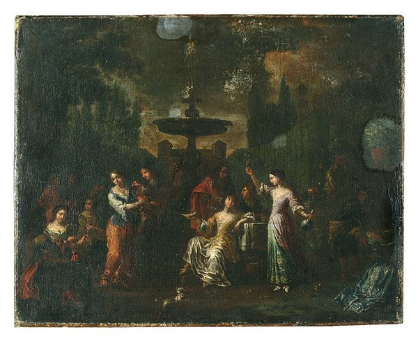 18: 18th century garden scene,