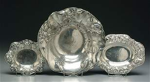 502: Three sterling bowls with flowers:
