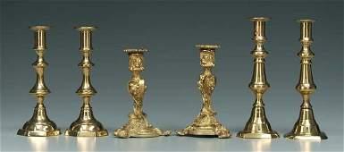 26: Three pairs brass candlesticks: