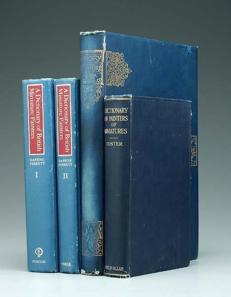 179: Four books, miniature portraits: