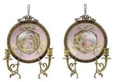 Pair Sevres Style Porcelain and Bronze Sconces