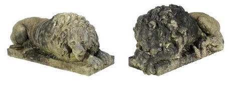 Fine Pair Carved Marble Recumbent Lions