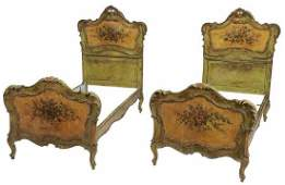 Pair Venetian Paint Decorated Twin Beds