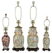 Four Chinese Porcelain Vases Mounted as Lamps
