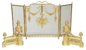 Pair Louis XVI Style Gilt Bronze Chenets with