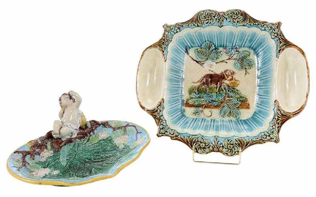 Two English Majolica Plates