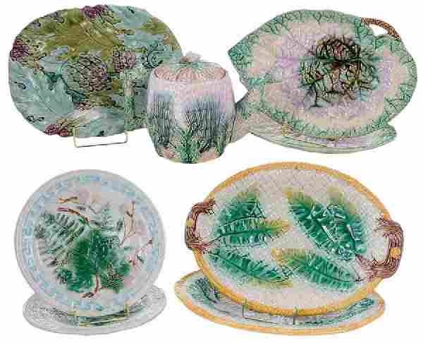 Eight Majolica Table Items