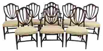 Set of Eight Hepplewhite Style Dining Chairs