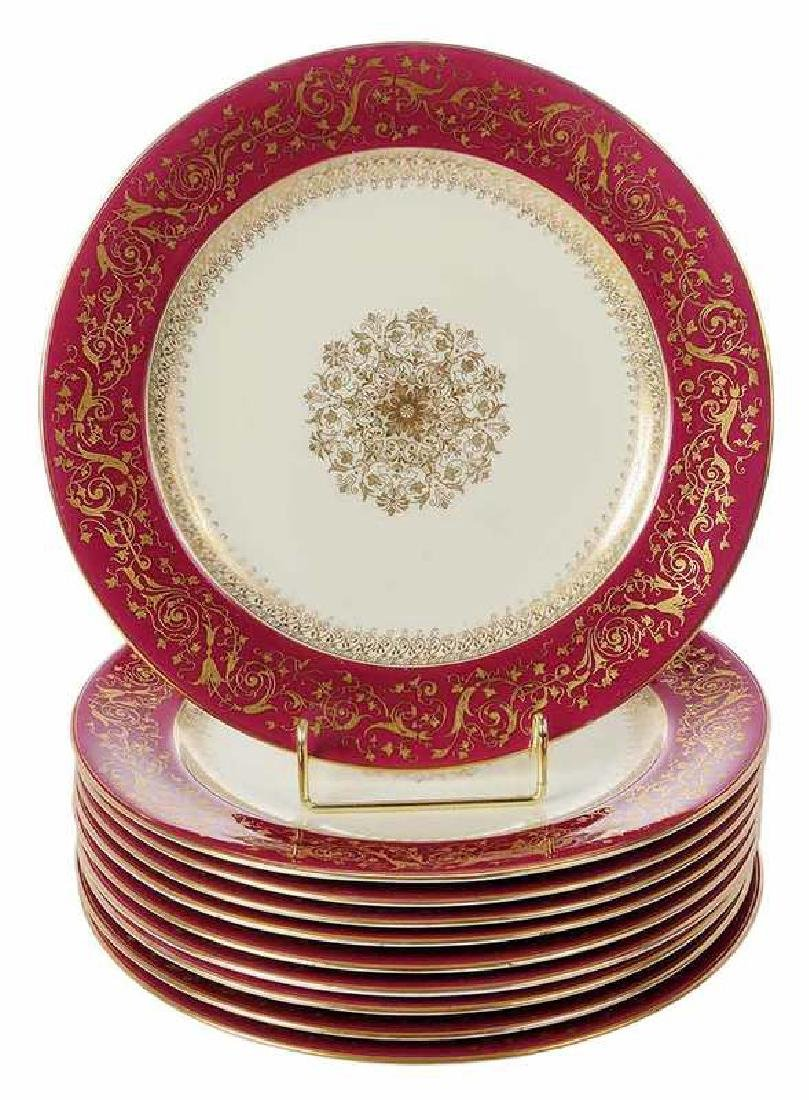 Set of Ten Tiffany & Co. Red Gilt Service Plates