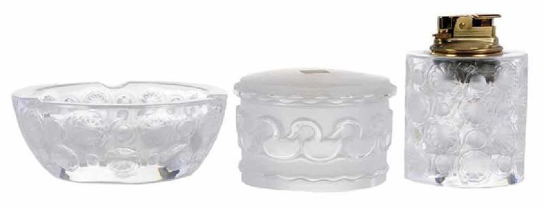 Lalique Tokio Lighter and Ashtray, Covered Box