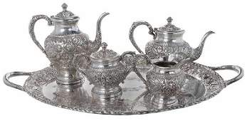 Kirk Repousse Sterling Tea Service, Tray