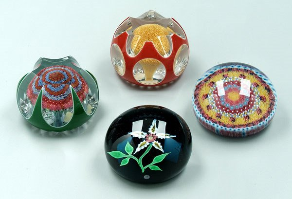 746: Four modern Baccarat paperweights: