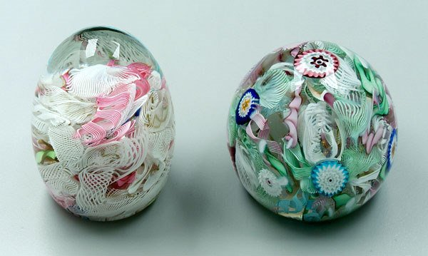 749: Two latticino paperweights: