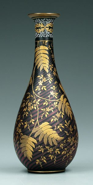 758: Mother-of-pearl gilt decorated vase,