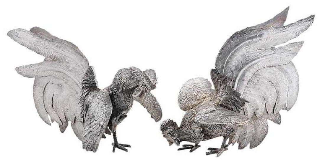 Two Peruvian Sterling Fighting  Cocks