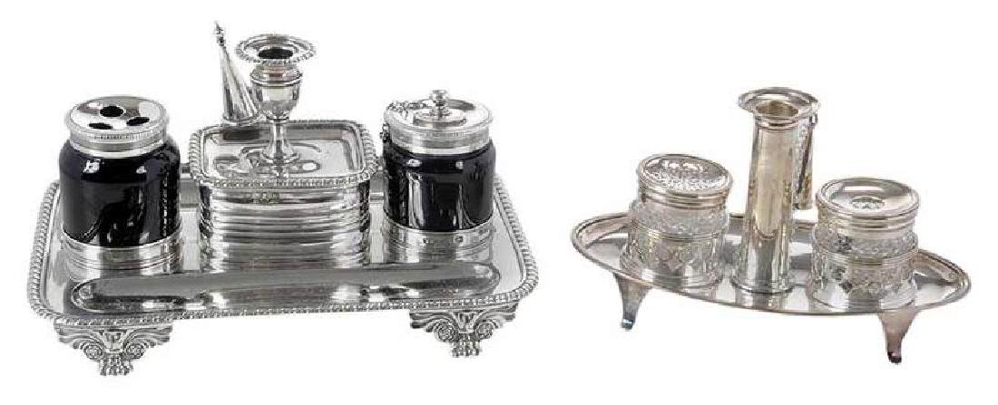 Two English Silver Ink Stands