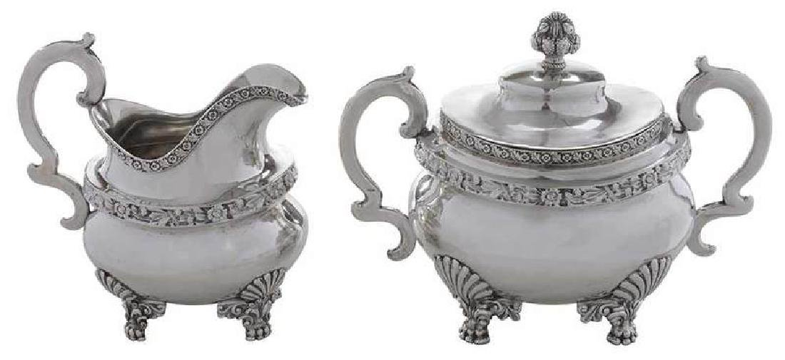 Peter Chitry Coin Silver Sugar and Creamer